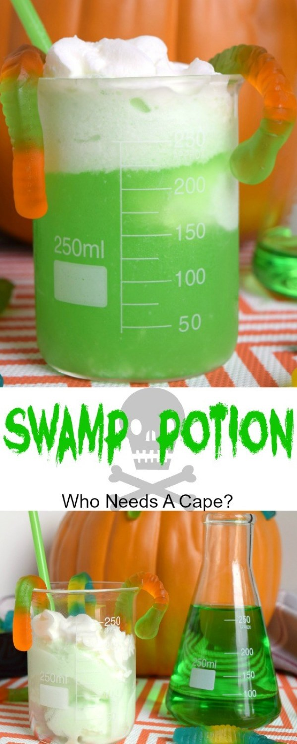 Whip up some Swamp Potion for Halloween parties! Non-alcoholic and so much fun! Funny Halloween Drinks ideas for Kids. Happy Halloween!
