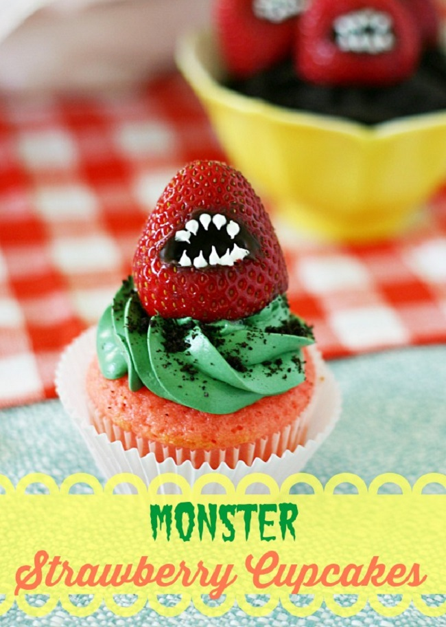 Monster Strawberry Cupcakes - Spooky Halloween Cupcake Recipes Ideas.