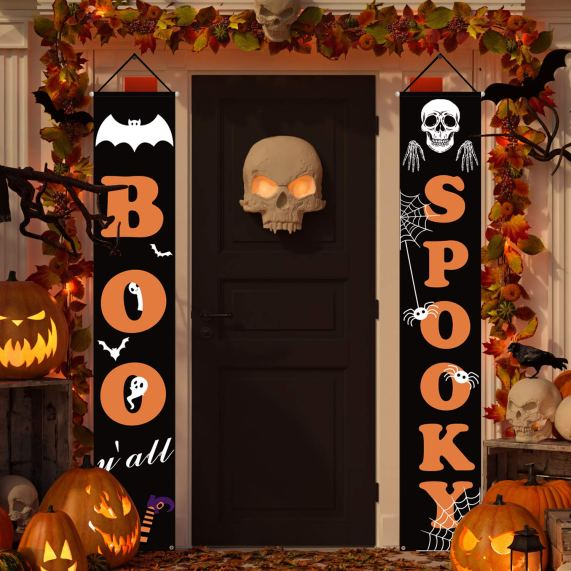 Dress up your front porch into the Halloween spirit in an instant with these fun and festive Halloween decorations. Boo and Spooky Halloween Signs for Front Door to welcome your visitors.