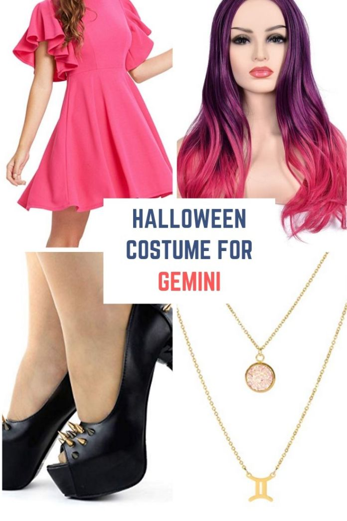 Gemini Halloween costumes - Embrace your twin vibe solo with a cute pink dress, and split-down-the-middle hair wig. Find 12 more Halloween costumes ideas for zodiac lover.