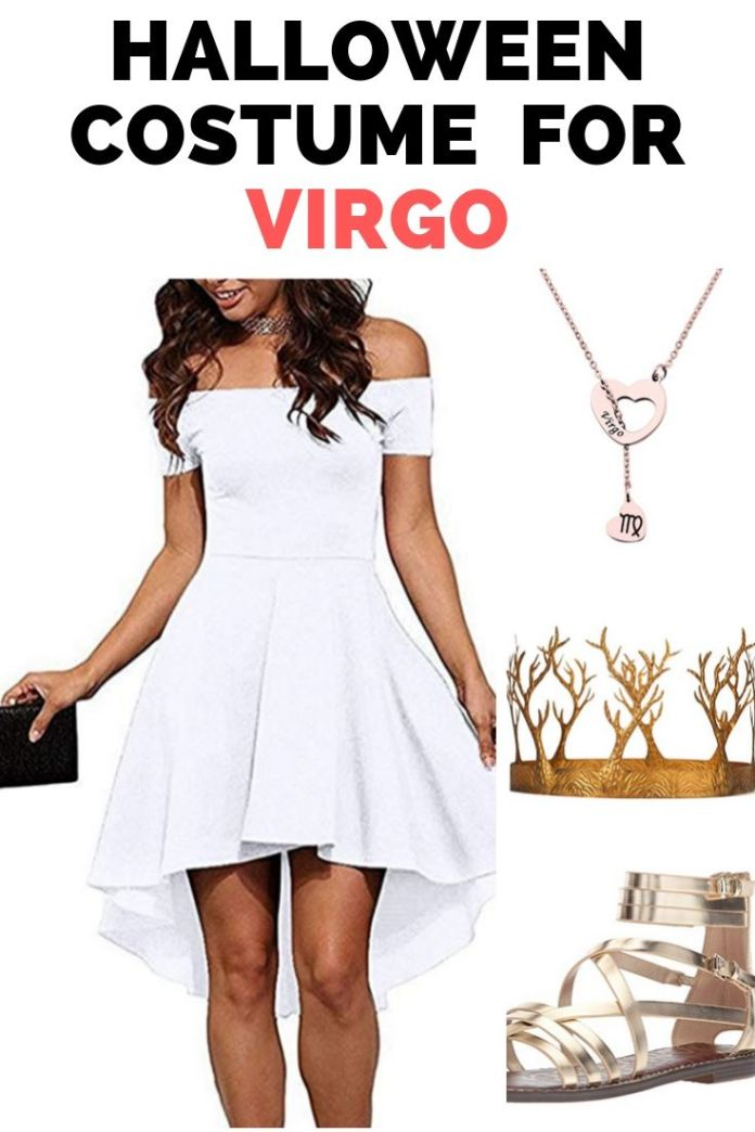 Goddess maiden style Halloween costume for Virgo zodiac. Show your earthy expression on Halloween and throw your shine everywhere. Get 12 more Halloween costume ideas for zodiac lovers.
