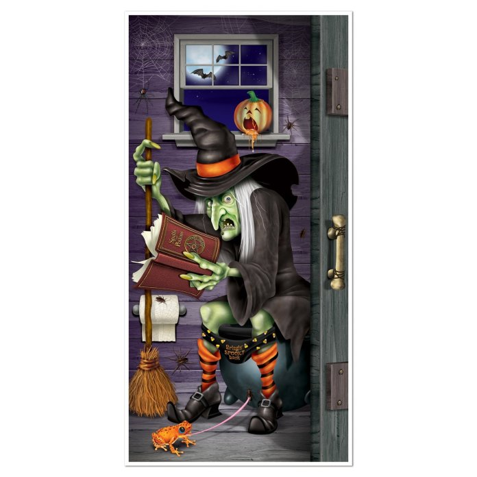 Decorate your rest room door with this witch cover for party night. Find more funny and creative Halloween door decorations ideas to spook your guests.