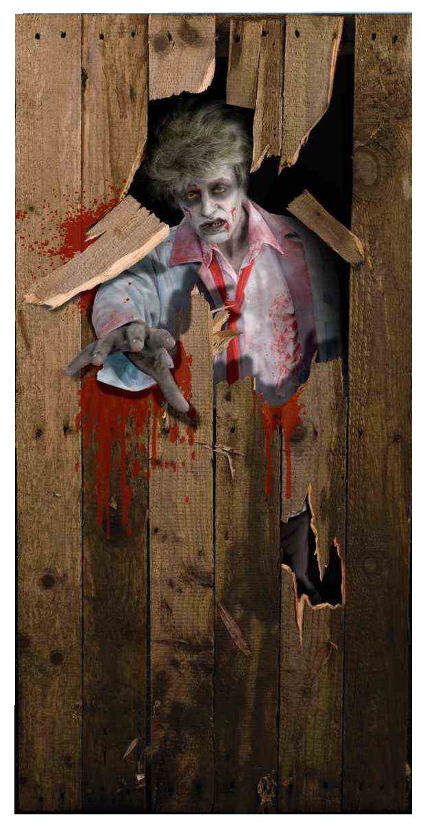 Cling this scary zombie door decoration to spook your house indoor and outdoor. Find 10 more Halloween door decoration ideas on Amazon.