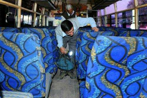 Forensic inspection of bus.