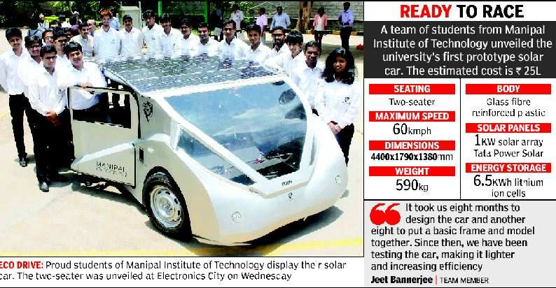 Engineering Students Of Manipal Institute Of Technology Shine On Road Build Solar Powered Car Engineering Science Technology Resources Portal