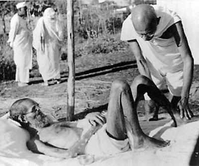 Image result for Images of leprosy patient with Mahatma Gandhi