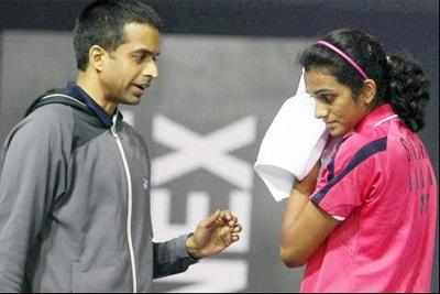 Pullela Gopichand and P V Sindhu (PTI Photo)
