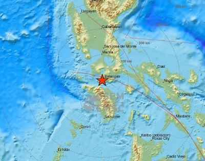 The quake struck at 3:08pm just off the southern coast of the main Philippine island of Luzon, about 110 kilometres (68 miles) south of Manila. (Diagram source: Twitter)