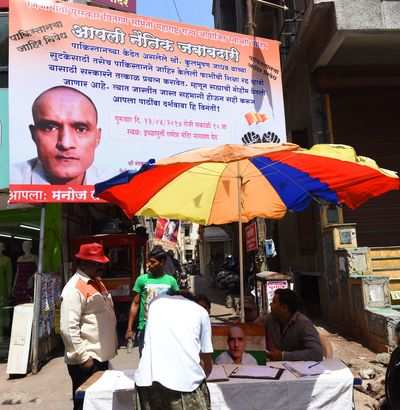 A hoarding with a picture of Kulbhushan Jadhav (Photo: TOI)