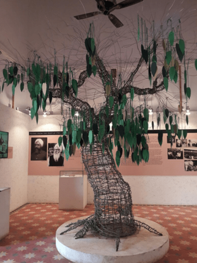 The Partition Museum's gallery of hope features a tree where people write messages on paper leaves.