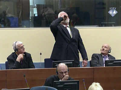 Image result for Bosnian Croat general dies after drinking poison in courtroom