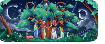 Today's 'Google Doodle' marks the 45th anniversary of the Chipko Movement. (Photo via Google)