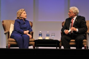 Hillary Clinton was quizzed by former GOP congressman Jim Greenwood, the CEO of the Biotech Industry Organization.