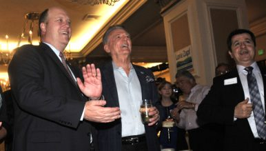 County GOP Chairman Tony Krvaric applauds results at U.S. Grant. Photo by Chris Stone