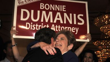 District Attorney Bonnie Dumanis is hugged at U.S. Grant Hotel after an election. Photo by Chris Stone