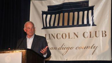Former Mayor Jerry Sanders speaks at U.S. Grant Hotel. Photo by Chris Stone