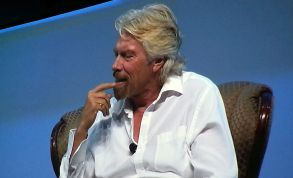 Sir Richard Branson ponders a query from BIO CEO Jim Greenwood at San Diego Convention Center. Photo by Ken Stone