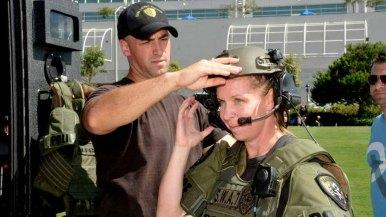 Lorie Stevenson gets suited up in SWAT gear.