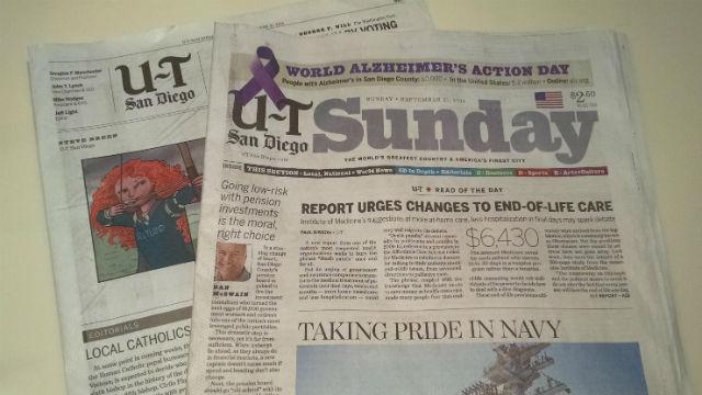 A Sunday edition of The San Diego Union-Tribune