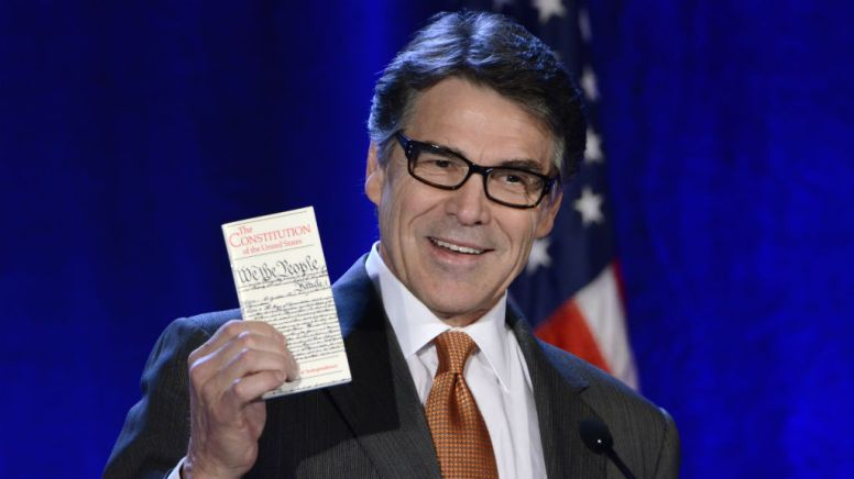 Texas Gov. Rick Perry uses the Constitution to make a point at RNC Winter meeting at the Hotel Del Coronado.