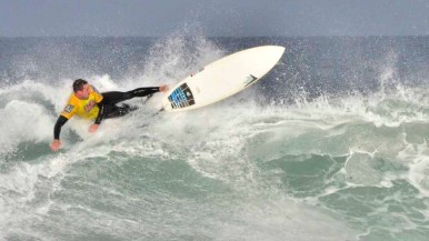 Marine reservist Matthew Machonis wipes out on one attempt at the Pendleton Surf Club.