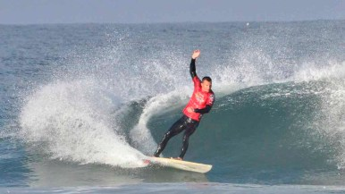 Jeff Broom of the U.S. Coast Guard competes in the Pendleton Surf Club competition.