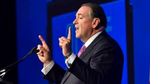 Presidential Candidate Former Gov. Mike Huckabee speaks to attendees at a luncheon at the ALEC conference. Photo by Chris Stone