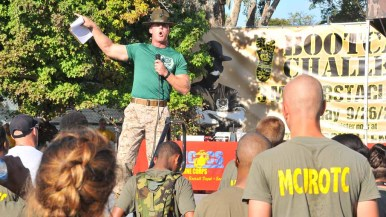 A drill instructor went over safety rules before the race. Photo by Chris Stone