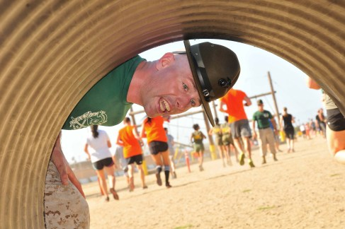 """""""Get out,"""" """"Get out,"""" drill instructors shouted as runners went through tunnels. Photo by Chris Stone"""