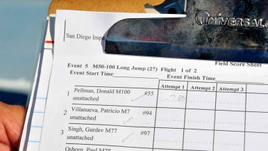A USATF official recorded Pellmann's first world record of the day. Photo by Chris Stone