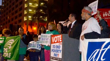 San Diego City Councilman David Alvarez speaks at the Fight For 15 rally. Photo by Chris Stone