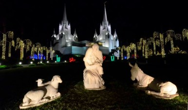 Nativity scene near entrance of San Diego Temple of the Church of Jesus Christ of Latter-day Saints. Photo by Chris Stone