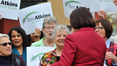 Toni Atkins greets endorsers at the Jacobs Center in Southeastern San Diego. Photo by Chris Stone