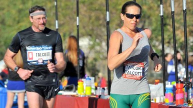 Erin Taylor-Talcott, 37, would finish 37 minutes ahead of her husband, Dave Talcott, 55, at the 50K walk. Photo by Ken Stone