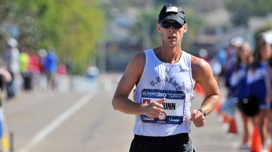 John Nunn says he still felt the effects of the flu for the first 12 miles of the 50K race walk trials. Photo by Ken Stone