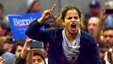 Young woman reacts to a point by Bernie Sanders. Photo by Chris Stone