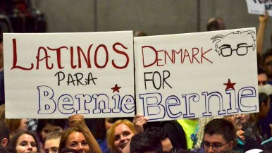 Handmade signs abounded for Bernie Sanders. Photo by Chris Stone