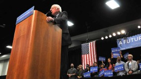 Bernie Sanders was greeted by a deafening roar in Halls D and E of Convention Center. Photo by Chris Stone