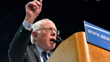 Bernie Sanders spoke for 45 minutes at San Diego Convention Center. Photo by Chris Stone