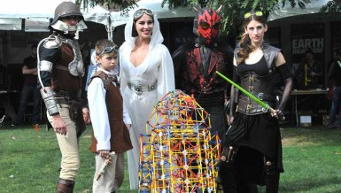 "A group dressed in ""Star Wars Steampunk"" costumes circulated among the crowds. Photo by Chris Stone"