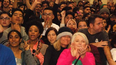 An audience diverse in age and ethnicity attended Bernie Sanders rally in San Diego. Photo by Ken Stone