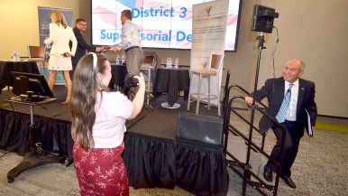 Sam Abed pauses for a photo after District 3 supervisor debate. Photo by Ken Stone