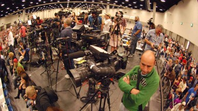 National and local media set up on risers in Hall H of the San Diego Convention Center. Photo by Ken Stone