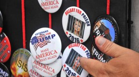 Trump hats, shirts and buttons were sold in the Gaslamp Quarter area. Photo by Chris Stone