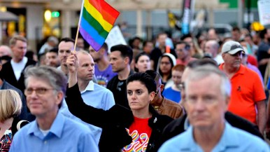 Nearly 2,000 people gathered to march in support of LGBT brethren in Orlando, Florida. Photo by Chris Stone