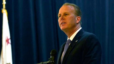 San Diego Mayor Kevin Faulconer shares his sadness with the crowd. Photo by Chris Stone
