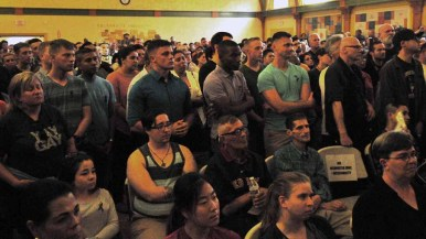More than 500 people gathering in the San Diego LGBT Community Center to hear speakers. Photo by Chris Stone
