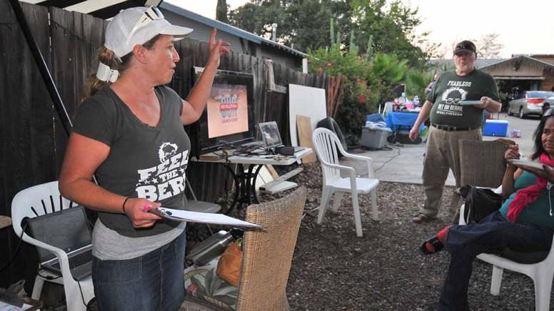 "Ramona Irwin calls for volunteers to join her ""Bernie Brigade"" events. Photo by Ken Stone"