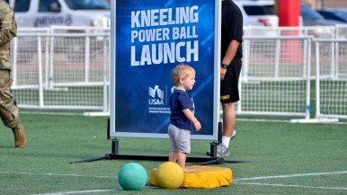 Stations were marked by signs — and small children at NFL Boot Camp at Marine Corps Air Station Miramar. Photo by Chris Stone