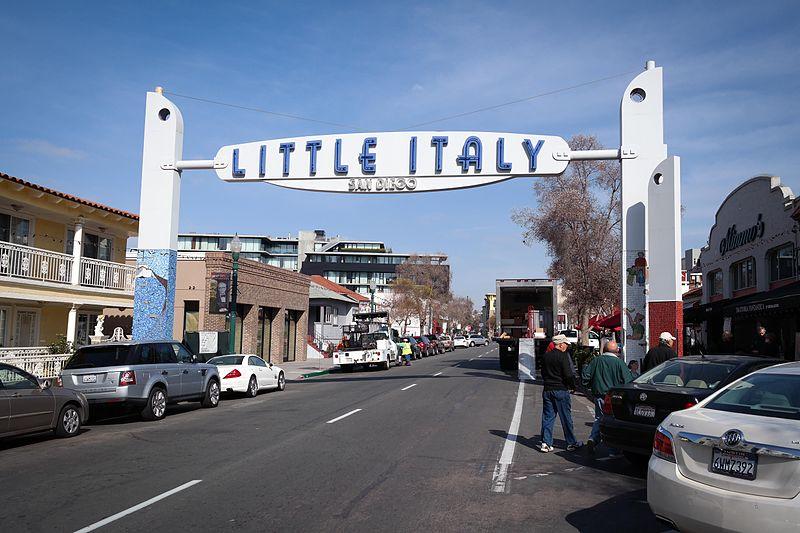 The Little Italy neighborhood sign.